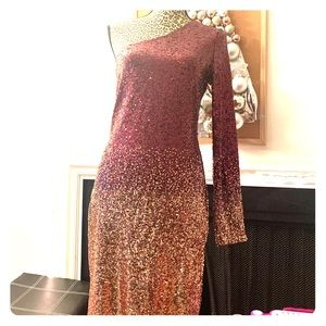 Ombré Sequin one sleeve  midi dress